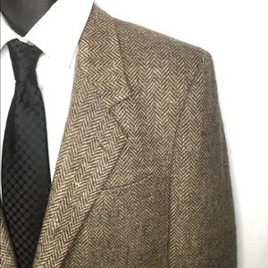 Men's 42R vintage herringbone wool blazer coat